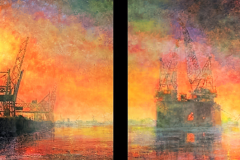 Tweeluik Gezicht op Rotterdamse Haven